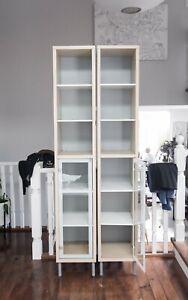 2 x Ikea Bookshelves with Adjustable Feet Glass Doors (Handles Missing)