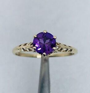 Large Vintage 14K Purple Amethyst Diamond Ring Alternate Engagement Ring Signed 14K Size 8.5 US Art Deco Ring