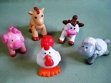 lot de 5 animaux de la ferme articulés