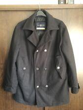 Henri Lloyd Navy Blue/Black Wool Double Breasted Pea Coat Size XL