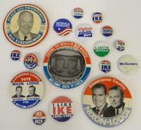 Mixed Lot 17 Political Pins Nixon Lodge Eisenhower Prosperity Johnson Humphrey