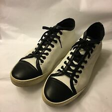 Da Uomo NEIL BARRETT Bianco Nero Scarpe Da Ginnastica in Pelle Captoe Sneakers Scarpe 46 UK 12 US 13