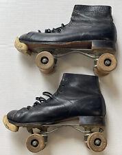 Vintage Skates Roller Derby Mens Black Leather Wood Wheels Rol-O-Way