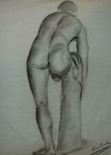 Louise Canuet, large academy charcoal drawing. Nude man leaning forward. 19th c
