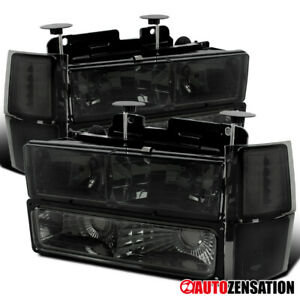 For 94-98 Chevy Silverado Tahoe Suburban Smoke Headlights w/ Corner+Bumper Lamps