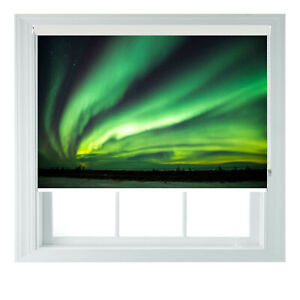 Green Northern Lights Printed Photo Black Out Roller Blinds 2 3 4 5 6ft