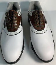 New listing FootJoy Synr G 53862 Golf Shoes White Brown Leather Memory Foam Mens Size 9.5W