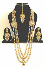 New Indian Bollywood Costume Jewellery Necklace Set Gold Design Wedding Fashion