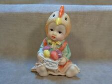 Cute Baby Girl In Chicken Hat Holding Easter Basket 4� X 3� Resin Figurine