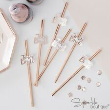 TEAM BRIDE PAPER STRAWS -Metallic Rose Gold Hen Party Decorations- RANGE IN SHOP