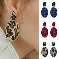Women Boho Geometric Drop Dangle Hook Leopard Leather Ear Stud Earrings Jewelry
