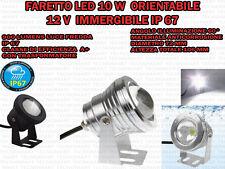 FARETTO LED 10 W IMMERGIBILE 12 V CON TRASFORMATORE IP 67 SUBACQUEO LUCE FREDDA