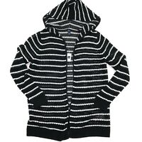Gap Womens Sweater Open Front Knit Long Hoodie Black White Stripe Size L NEW
