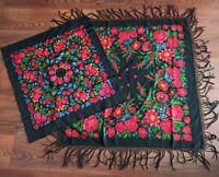 Wool black Vintage Russian head shawl Ukrainian Wool Floral Scarf USSR