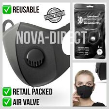 Face Mask with AIR Filter Valve Washable Reusable Breathable Mouth Cover - UK