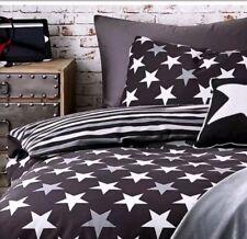 BOYS STARS SINGLE DUVET SET BEDROOM BLACK WHITE STRIPE REVERSIBLE BEDDING