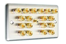 ACCIAIO Inossidabile 9.1 Surround Sound Speaker Wall Face PLATE GOLD Binding Post