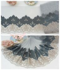 """10""""*1Y Embroidered Tulle Lace Trim~Light Gray+Gray Green+Deep Beige~Royal Dance~"""