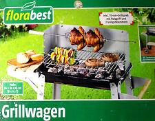 Grillwagen  FLORABEST Holzkohlegrill Gartengrill Inklusive 70-cm-Grillspieß NEU