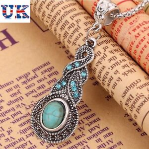 New Tibetan Silver Blue Turquoise Chain Crystal Set Pendant Necklace + Earrings