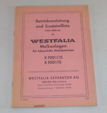 Betriebsanleitung + Teilekatalog Westfalia Melkmaschine K 7001 C15 / J15