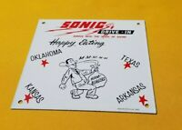 VINTAGE SONIC DRIVE IN PORCELAIN FAST FOOD RESTAURANT BURGERS GAS BEVERAGE SIGN