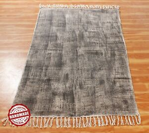 Antique New Look Geometric Carpet Hand Block Printed Cotton Dhurrie Area Rugs