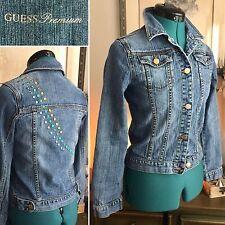 GUESS Jeans Premium DENIM Jean JACKET Studded Jewels GLAM Sz S/XS Stretch