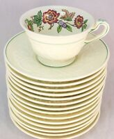 7 SETS FOOTED CUP & SAUCER VINTAGE WEDGWOOD CHINA TAPESTRY TMD440 FLORAL IVORY