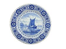 """Antique Delft Blue Handpainted 10 5/8"""" Blue Wall Plate Sailboat Windmill 1900s"""