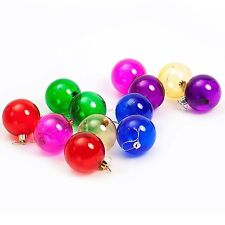 Christmas Tree Hanging Bauble Decorations (60mm) 12 x Clear Multicolour