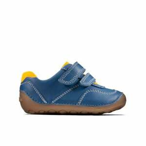 BNIB Clarks Toddler Boys Tiny Dusk Blue Leather Shoes F/G Fitting