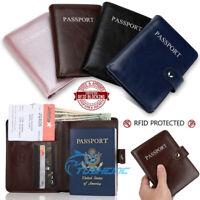 Premium Leather Passport Holder Travel Wallet RFID Blocking ID Card Case Cover