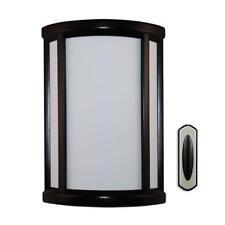 Heath Zenith Black & White Contemporary Curved Wireless Doorbell w/ Push Button