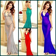 Women Sexy Dressing Gown Lingerie Robe Spandex Sheer Maxi Backless Nightwear