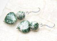 "Moss Agate Green, White 12mm Heart Gemstone Earrings 925 Sterling Silver 1.50"""