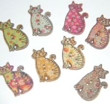 12 x Wood / Wooden Printed CAT BUTTONS ~ Mixed Colour & Patterns ~ 30mm