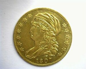 1807 CAPPED BUST LEFT GOLD $5 NEAR CHOICE UNCIRCULATED LOW MINTAGE & VERY RARE!