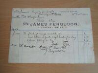 Invoice JAMES FERGUSON, General Smith, Lochside Street, Oban, Dated 1903 §DJ9