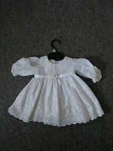 Baby Girl Romany Style White Long Sleeved Dress 3-6 Months