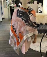 DVF SILK SCARF Large Rectangular DIANE von FURSTENBERG Fashion Shine Studs