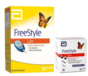 ABBOTT FreeStyle Lite Meter [+] Freestyle 50 Test Strips For GLucose Care