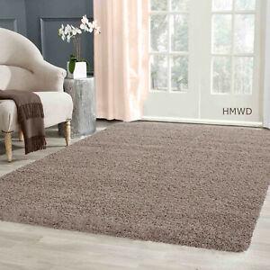 Modern Small X Large Soft Shaggy Non Slip Rug Bedroom Living Room Carpet - Beige