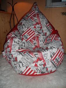 """Sitzsack XXL """"von Lux ca 430 New York Lederimitat rot Lounge für die über 1,80 m"""