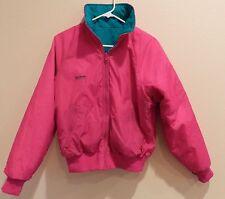 vtg Ski Jacket 80s 90s reversible NEON retro Womens M/L Columbia teal warm coat