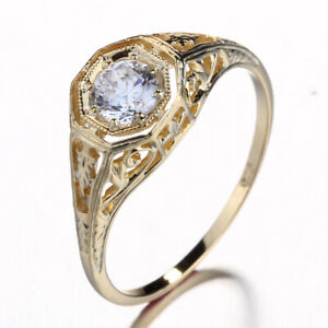 AAA CUBIC ZIRCONIA  VINTAGE SOLID 10K Yellow Gold  RING  ENGRAVING ANTIQUE RING