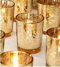 Set of 12 Mercury Glass Gold Tea Light Holders Candle Votive Wedding Decoration