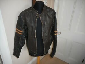 FIRETRAP RETRO  LEATHER CAFE RACER BIKER JACKET SIZE MEDIUM IN GOOD CONDITION