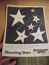"FT4 Vintage RARE Crosman Air guns target Coleman co. shooting stars  8.5"" x 11"""