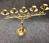 Nice Ornate Vintage Solid Brass 5 Cup Candelabra Candle Stick Holder Tapered #15